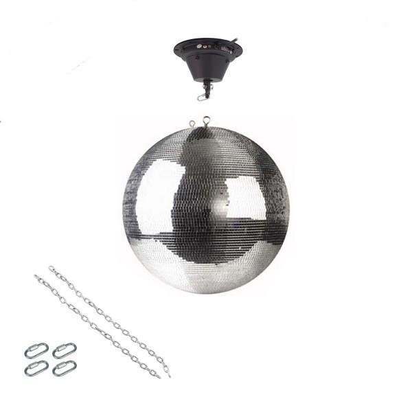 Spiegelkugel Set 40cm Kugel PREMIUM + Motor MBM-404, 2 Ketten, 4 Kettenglieder