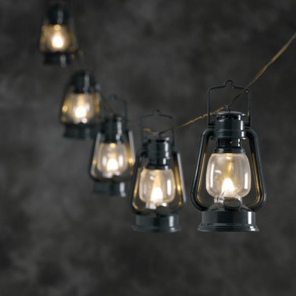 LED-Party-Lichterkette - Lantern Line Outdoor - 7,00m - 8x grüne Sturmlaterne - Warmweiß - Schwarz