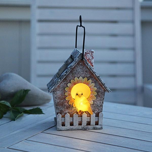 LED Solar Deko Vogelhaus - 2 warmweiße LED - H: 16cm - Dämmerungssensor - outdoor