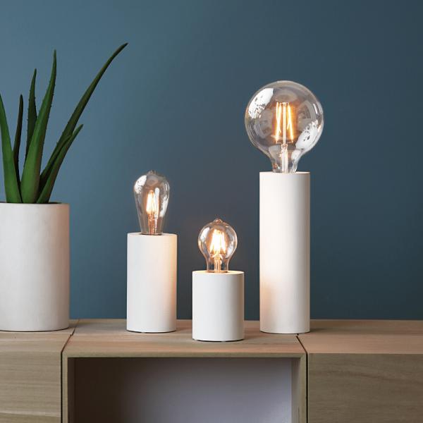"""Lampenfassung """"Tub"""" - E27 Fassung - Schalter - H: 10cm - stehend - weiß"""