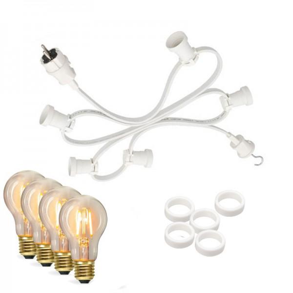 Illu-/Partylichterkette 10m | Außenlichterkette weiß | Made in Germany | 10 x Edison LED Filamentlam
