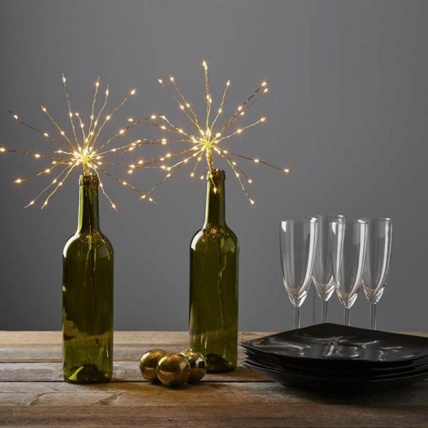 "LED-Lichterbouquet ""Firework"" - gold - 20 Äste, 60 daylight LED - H: 42cm - Batterie - Timer"