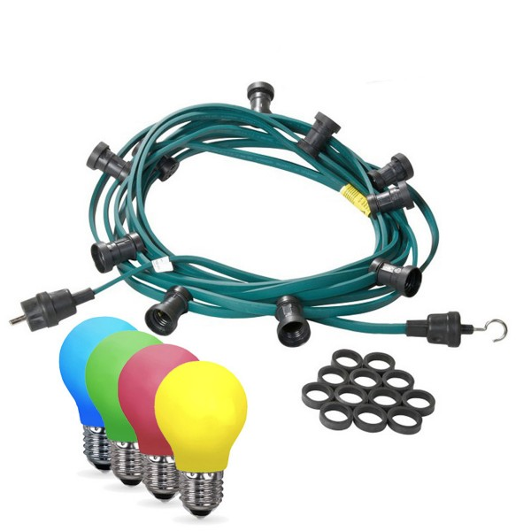 Illu-/Partylichterkette 40m - Außenlichterkette grün - Made in Germany - 40 bunte LED Tropfenlampen