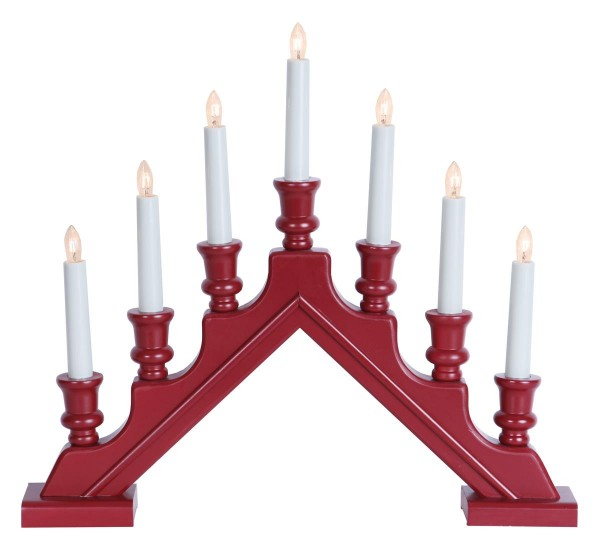 Fensterleuchter SARA - 7 warmweiße Glühlampen - L: 44cm, H: 38cm - Schalter - Holz rot, gedreht