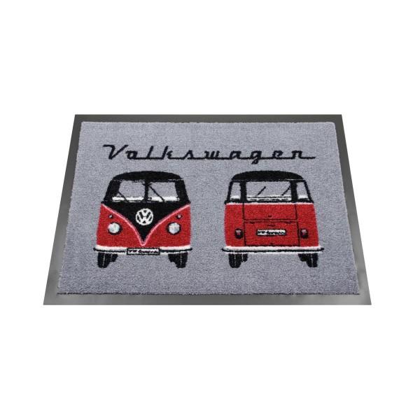 "Fußmatte ""Bulli grau/rot"" - 70 x 50cm - 100% Nylon, waschbar, PVC Rücken - MADE IN EU"