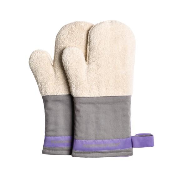 Feuermeisterin Premium Textil Back- und Kochhandschuhe lgraue Stulpe/lila Band, Paar