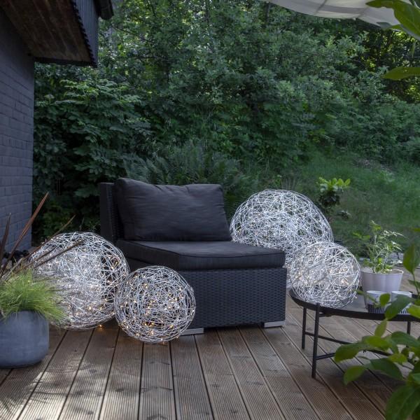 LED 3D Designkugel TRASSEL - Drahtkugel - D: 50cm - 150 warmweiße LED - Indoor/Outdoor - silber