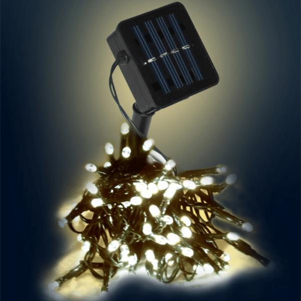 LED SOLAR Lichterkette - 50x warmweiße LEDs - In&Outdoor - grünes Kabel - warmweiße LED - L: 5m