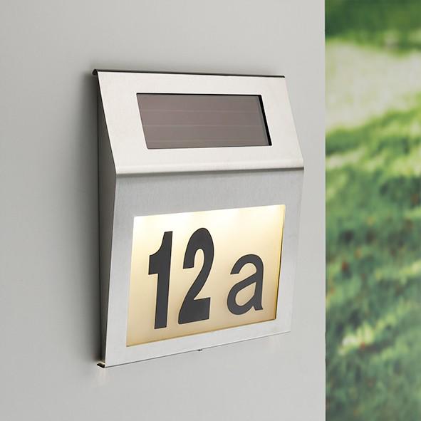 """Solar Hausnummer Edelstahl """"MODENA"""" - inkl Buchstaben und Zahlen - warmweiße LEDs - 18x20x3cm"""
