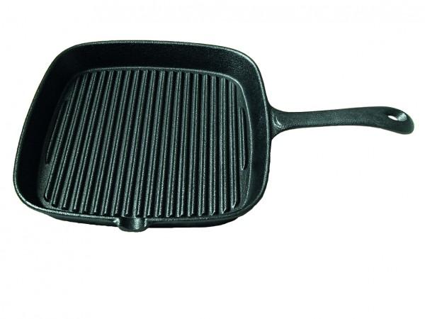 Grillpfanne aus Gusseisen - 22x22x3,5cm - Rillen für tolles Branding