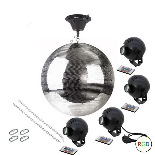 Spiegelkugel Komplettset 50cm mit Motor, 4 x 9W LED Pinspot (RGB) und Montagematerial PROFI