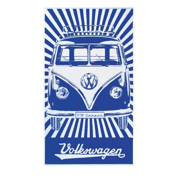 Strandtuch VW Bulli T1 blau - 100% Baumwolle 420g/m² Jaquard Qualität - 190 x 90cm