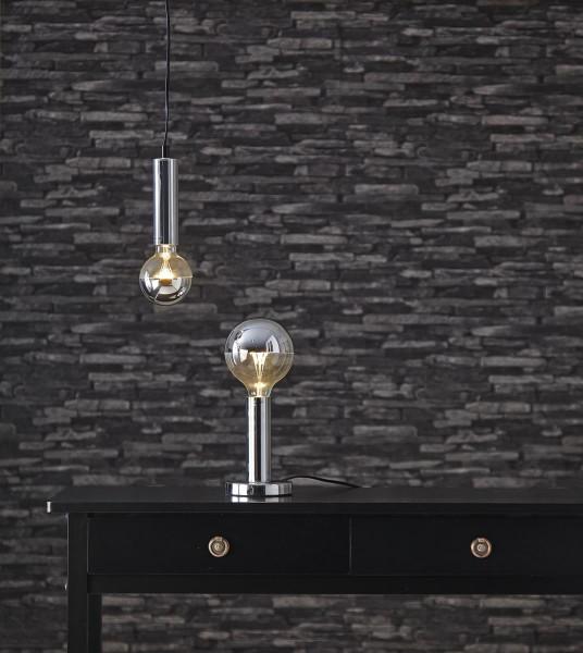 Lampenhalterung   GLANS   E27   →12cm x ↑17cm   180cm Kabel   Röhre lang   stehend   Silber/Chrom