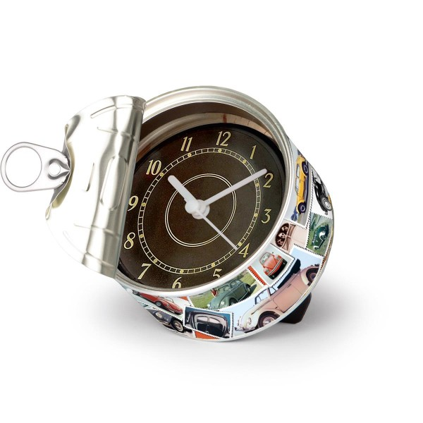 """VW Volkswagen MyClock """"BEETLE STAMPS"""" - Uhr in der Konservendose - magnetisch - Blickfang / Geschenk"""