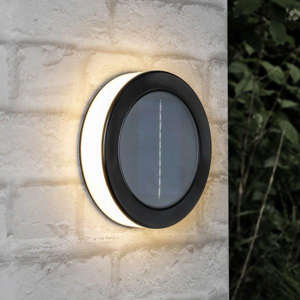 LED Solar Wandlampe - 18 warmweiße LED - D: 15,5cm - Dämmerungssensor