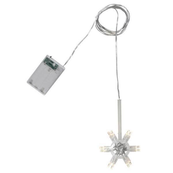 Lichterstern LIGHTY - D: 8,5cm - 12 warmweiße LEDs - Transparentes Kabel - Batterie - Timer