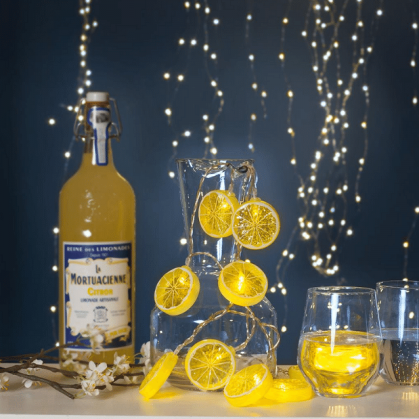 """LED Lichterkette """"Lemon"""" - 10 Zitronenscheiben - warmweiße LED - L: 1,35m - Batterie - Timer"""