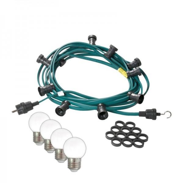 Illu-/Partylichterkette 20m | Außenlichterkette | Made in Germany | 40 kaltweißen LED-Kugellampen