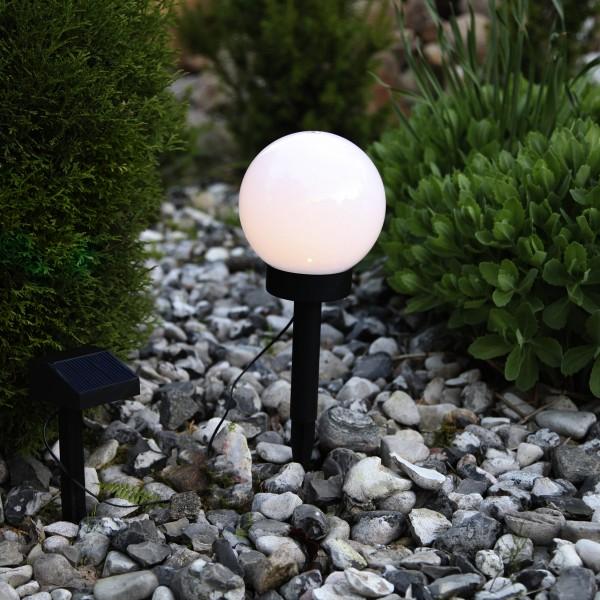 LED Solar Gartenkugel GLOBUS - Erdspieß - H: 32cm, D: 15cm - warmweiße LED - Dämmerungssensor