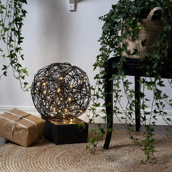 LED 3D Designkugel TRASSEL - D: 30cm - 50 warmweiße LED - Indoor / Outdoor - schwarz