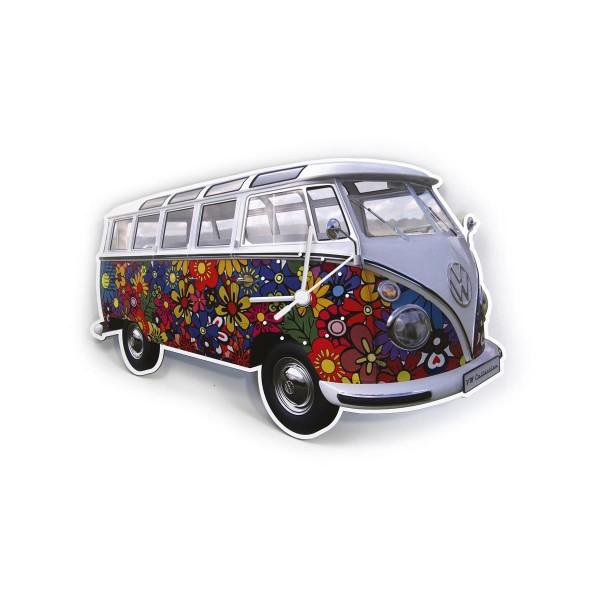 "Wanduhr VW T1 Bulli ""FLOWER POWER"" - 28x18x2,5cm - MADE IN GERMANY"