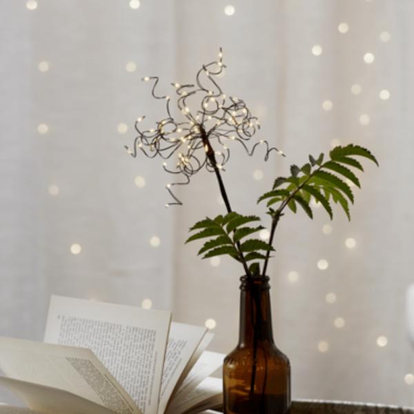 """LED-Lichterbouquet """"Firework"""" - schwarz - 20 Äste, 60 warmweiße LED - H: 42cm - Batterie - Timer"""