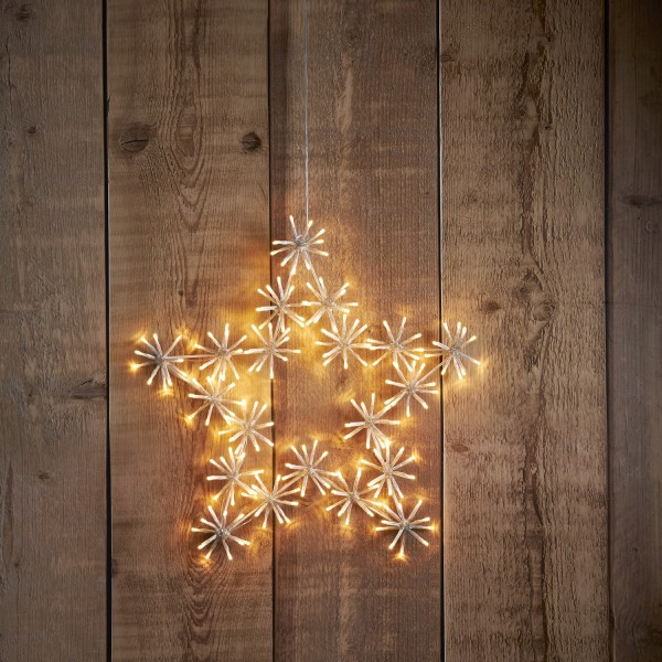 LED Stern Flower Star - hängend - D: 60cm - 200 warmweiße LED - inkl. Trafo - Outdoor - transparent