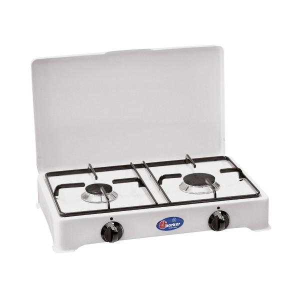 PARKER Zweiflammiger Kocher - weiß emailliert - Zündsicherung - 2,3+1,65kW