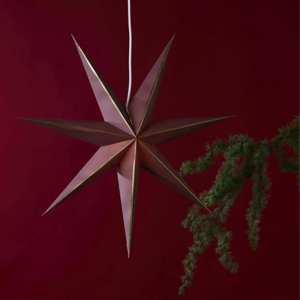 "Papierstern ""Lysa"" - hängend - 7-zackig - Ø 60 cm - rot/gold"