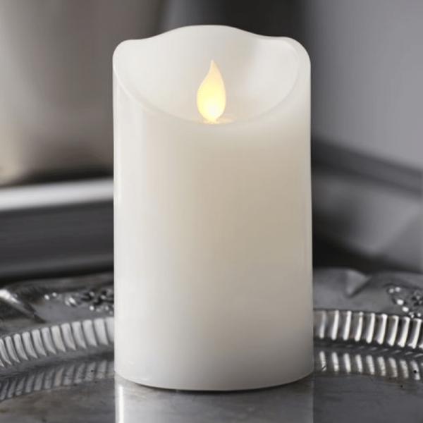 """LED Kerze """"M-Twinkle"""" - Echtwachs - mechanisch bewegte Flamme - Timer - H: 12,5cm - weiß"""