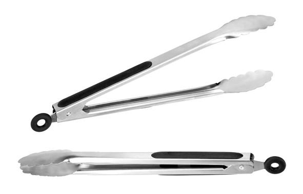 Grillzange 34cm - Edelstahl mit Silikongriff - Verriegelung