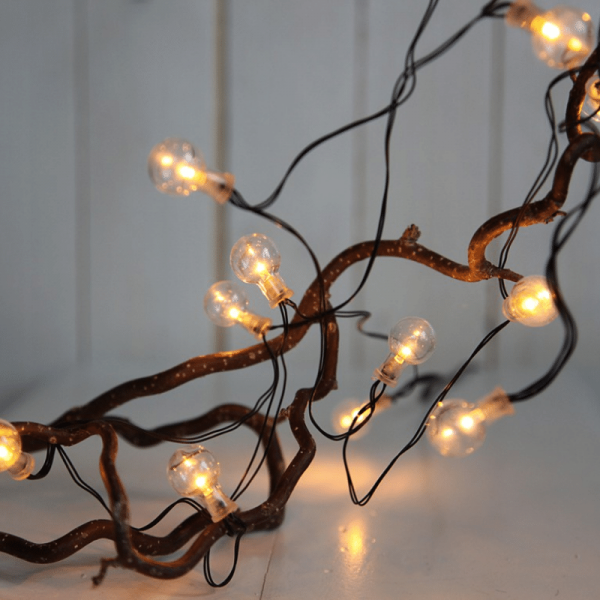 "LED Party Lichterkette ""Glühbirne "" - 16 transparente Birnen - warmweiße LED - L: 2,4m - Batterie -"