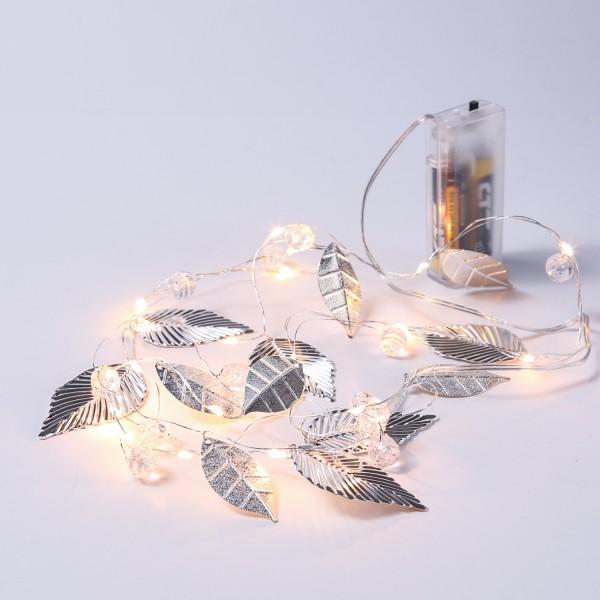 LED Drahtlichterkette mit silbernen Blättern und Perlen - 20 warmweiße LED - Batterie - L: 1,37m