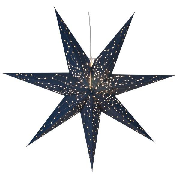 """Papierstern """"Galaxy"""" - mit Sternenbildern - hängend - 7-zackig - Ø 100 cm - Blau"""