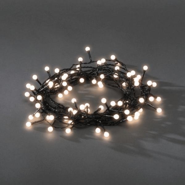 LED-Kugellichterkette - Ball Line Outdoor - 12,72m - 160x Warmweiß - Schwarzes Kabel