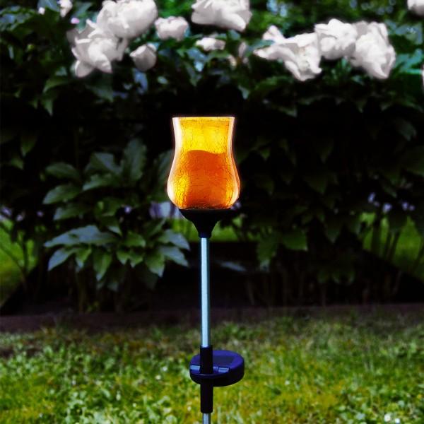"""LED Solarstab """"Lyon"""" - amber Glas - gelbe LED - H: 52cm - D: 7cm - Dämmerungssensor"""