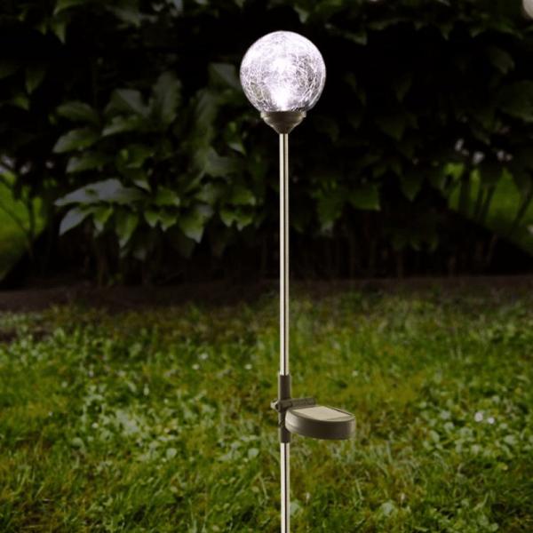 "LED Solarkugel ""Roma""- Edelstahl - klares Glas - warmweiße LED - H: 68cm - D: 7,8cm - Dämmerungssens"