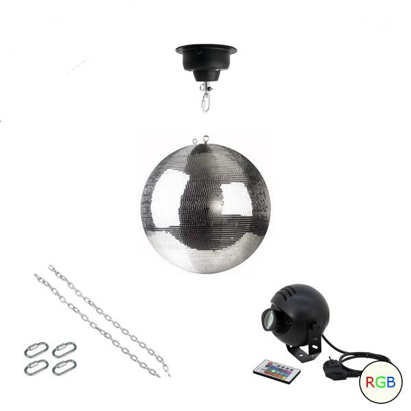 Spiegelkugel Komplettset 30cm mit Motor, 9W LED Pinspot (RGB) und Montagematerial PROFI