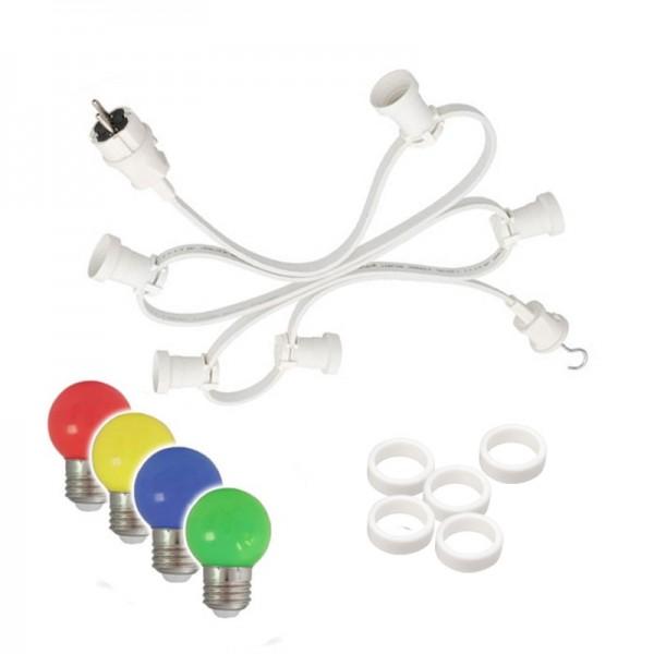 Illu-/Partylichterkette 20m | Außenlichterkette weiß | Made in Germany | 30 x bunte LED Kugellampen