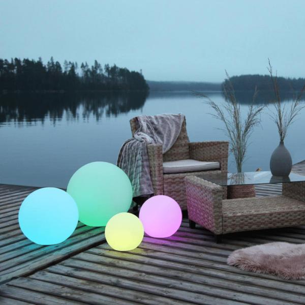 "LED Kugel ""Twilights"" - 30cm - RGB Farbwechsel oder feste Farbe - Fernbedienung - Aufladbar - IP44"