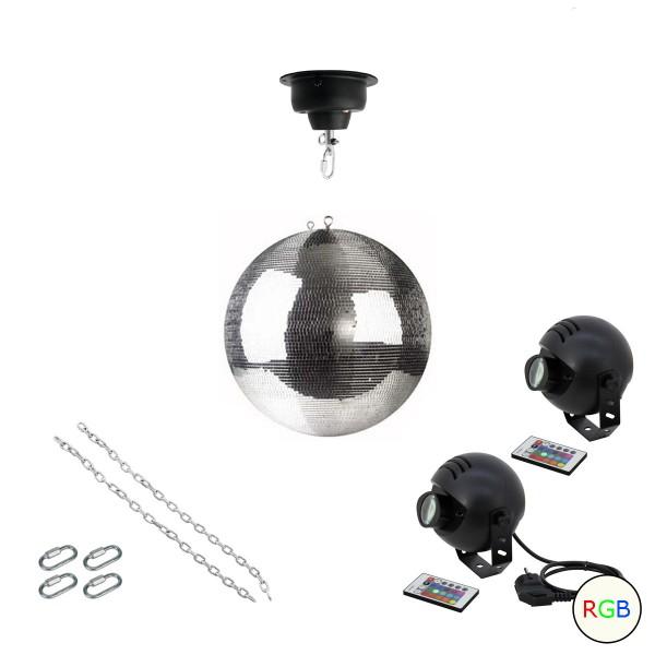 Spiegelkugel Komplettset 30cm mit Motor, 2 x 9W LED Pinspot (RGB) und Montagematerial PREMIUM