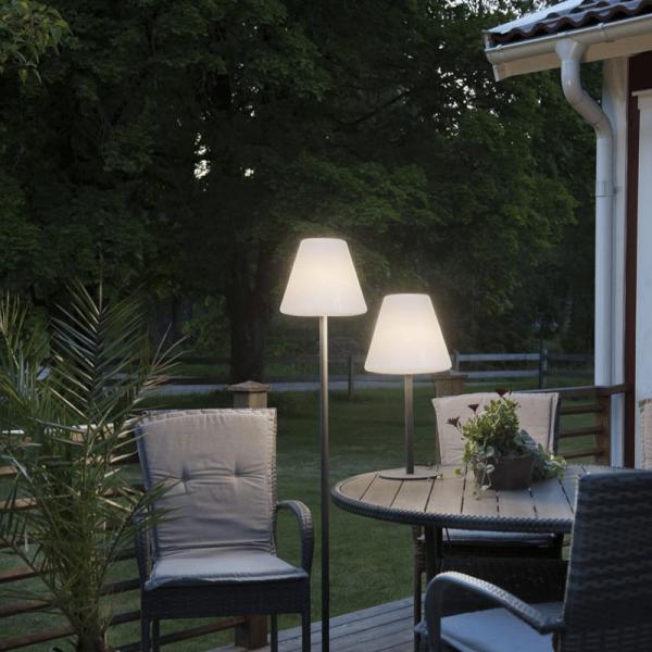 Garten-Beistelllampe/Tischlampe - H: 60cm - weißer 28cm Lampenschirm - E27 Fassung - Outdoor