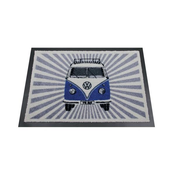 "Fußmatte ""VW Bulli blau/weiß"" - 70 x 50cm - 100% Nylon, waschbar, PVC Rücken - MADE IN EU"