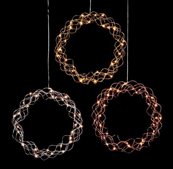 "LED-Dekoleuchte ""Curly"" - 30 warmweiße LED - D: 30cm - Material: Metall, messingfarben"