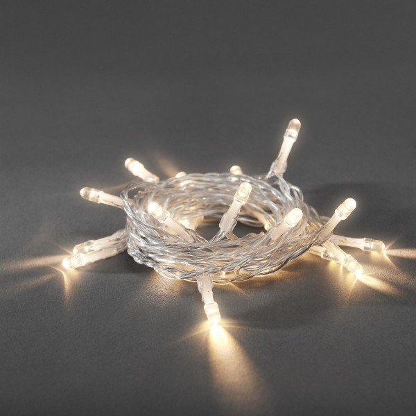 LED Lichterkette - 20x warmweiße LED - L: 2,85m - Timer - an/aus Schalter - transp. Kabel