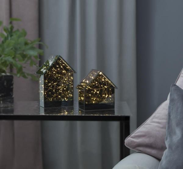 "LED Glashaus ""Mirror House"" - warmweiße LEDs - H: 14,5cm B: 14cm - Timer"