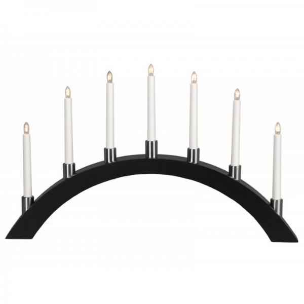Lichterbogen TALL - 7 warmweiße Glühlampen - L: 67cm, H: 40cm - Holz - Schalter - Schwarz