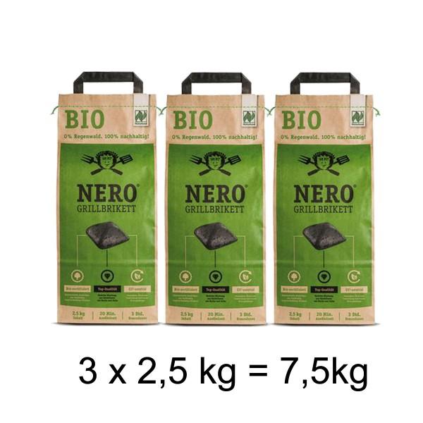 NERO BIO Grill Holzkohle Briketts - 3 x 2,5kg Sack - Garantiert ohne Tropenholz - Holz aus Deutschla