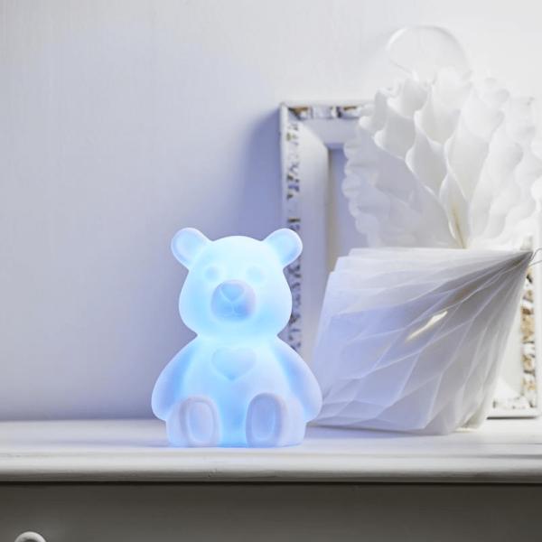 "LED Figur ""Polly"" - Teddybär mit LED Farbwechsler - H: 18cm - Batteriebetrieb - Nachtlicht"