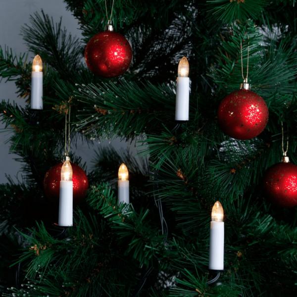 LED Kerzenkette - 16 warmweiße LED - Indoor - Strang - H: 11cm, L: 10,5m - grünes Kabel - weiß